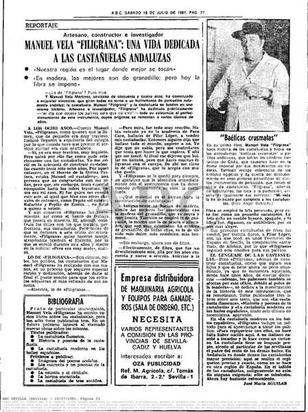 Reportaje Periódico ABC Manuel Vela Filigrana